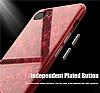 iPhone X / XS 360 Derece Koruma Desenli Manyetik Cam Beyaz Kılıf - Resim 1