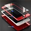 iPhone X / XS 360 Derece Koruma Desenli Manyetik Cam Kırmızı Kılıf - Resim 3