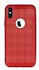 iPhone X Delikli Mat Kırmızı Silikon Kılıf - Resim 4
