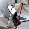 iPhone X Kırmızı Kenarlı Şeffaf Silikon Kılıf - Resim 1