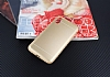 iPhone X Silikon Kenarlı Metal Gold Kılıf - Resim 1