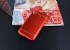 iPhone X Silikon Kenarlı Metal Kırmızı Kılıf - Resim 2
