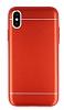 iPhone X Silikon Kenarlı Metal Kırmızı Kılıf - Resim 3