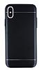 iPhone X Silikon Kenarlı Metal Siyah Kılıf - Resim 3