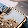 iPhone X / XS Taşlı Kalpli Gold Silikon Kılıf - Resim 2
