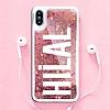 iPhone X / XS Kişiye Özel Simli Sulu Rose Gold Rubber Kılıf - Resim 1