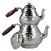 İşlemeli Silver Bakır Çaydanlık