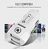 Ivon Çift USB Girişli Beyaz Araç Şarj Adaptörü - Resim 1