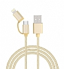 iXtech IX-06 Elegant Series Gold Lightning ve Micro USB Data Kablosu 1m - Resim: 1