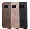 Jasean Samsung Galaxy S8 Deri Kahverengi Rubber Kılıf - Resim 4