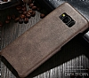 Jasean Samsung Galaxy S8 Deri Kahverengi Rubber Kılıf - Resim 1