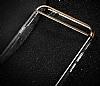 Joyroom iPhone 6 Plus / 6S Plus Gold Kenarlı Şeffaf Rubber Kılıf - Resim 4