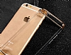 Joyroom iPhone 6 Plus / 6S Plus Gold Kenarlı Şeffaf Rubber Kılıf - Resim 5