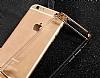 Joyroom iPhone 6 Plus / 6S Plus Rose Gold Kenarlı Şeffaf Rubber Kılıf - Resim 5