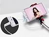 Joyroom Universal Aynalı Bluetooth Tuşlu Pembe Selfie Çubuğu 50 cm - Resim 2