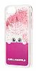 Karl Lagerfeld iPhone 7 / 8 Kedili Pembe Simli Silikon Kılıf - Resim 1