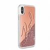 Karl Lagerfeld iPhone X Simli Rose Gold Kılıf - Resim 1