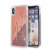 Karl Lagerfeld iPhone X Simli Rose Gold Kılıf - Resim 3
