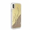 Karl Lagerfeld iPhone X Simli Gold Kılıf - Resim 1