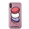 Karl Lagerfeld iPhone X Makaron Pembe Simli Silikon Kılıf - Resim 3
