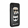 Karl Lagerfeld iPhone X / XS Siyah Deri Rubber Kılıf - Resim 1