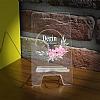 Kişiye Özel Çerçeveli Çiçek Şeffaf Telefon Standı