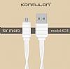 Konfulon S56 Lightning & Micro USB Beyaz Data Kablosu 1,2m - Resim 1