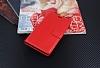 Lenovo K6 Note Cüzdanlı Yan Kapaklı Kırmızı Deri Kılıf - Resim 1