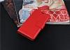 Lenovo Vibe S1 Cüzdanlı Yan Kapaklı Kırmızı Deri Kılıf - Resim 3