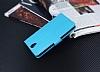 Lenovo Vibe S1 Lite Cüzdanlı Yan Kapaklı Mavi Deri Kılıf - Resim 4