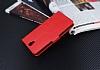 Lenovo Vibe S1 Lite Cüzdanlı Yan Kapaklı Kırmızı Deri Kılıf - Resim 4