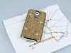 Eiroo Glows LG G2 Taşlı Gold Rubber Kılıf - Resim 1