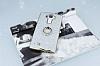 LG G4 Selfie Yüzüklü Simli Silver Silikon Kılıf - Resim 2