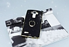 LG G4 Selfie Yüzüklü Simli Siyah Silikon Kılıf - Resim 2