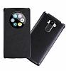 LG G4 Stylus Pencereli İnce Yan Kapaklı Siyah Kılıf - Resim 2