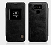 Nillkin LG G6 Uyku Modlu Pencereli Kapaklı Siyah Deri Kılıf - Resim 5