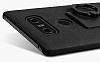 IMAK LG G6 Selfie Yüzüklü Siyah Rubber Kılıf - Resim 3