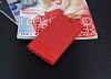 LG K10 2017 Gizli Mıknatıslı Yan Kapaklı Kırmızı Deri Kılıf - Resim 1