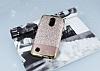 LG K10 2017 Simli Deri Rose Gold Silikon Kılıf - Resim 1