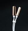 Mcdodo Lightning 3.5 Jack Kulaklık Çift Girişli Çoğaltıcı Gold Adaptör 24cm - Resim 2