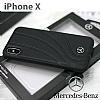 Mercedes-Benz iPhone X Gerçek Deri Siyah Rubber Kılıf - Resim 1