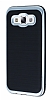 Motomo Samsung Galaxy E5 Silver Kenarl� Siyah Silikon K�l�f