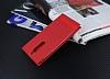 Nokia 5 Gizli Mıknatıslı Yan Kapaklı Kırmızı Deri Kılıf - Resim 1