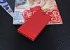 Nokia 5 Gizli Mıknatıslı Yan Kapaklı Kırmızı Deri Kılıf - Resim 2