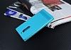 Nokia 5 Gizli Mıknatıslı Yan Kapaklı Mavi Deri Kılıf - Resim 1