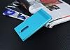 Nokia 6 Gizli Mıknatıslı Yan Kapaklı Mavi Deri Kılıf - Resim 1