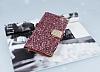 PinShang Samsung Galaxy C5 Taşlı Kapaklı Cüzdan Pembe Kılıf - Resim 3