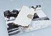 PinShang Samsung Galaxy C7 Taşlı Kapaklı Cüzdan Beyaz Kılıf - Resim 2