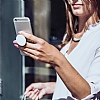Popsockets Granit Görünümlü Beyaz Telefon Tutucu ve Stand - Resim 1