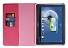 Rada Samsung Galaxy Note 10.1 2014 Edition Çizgili Standlı Cüzdanlı Pembe Deri Kılıf - Resim 1